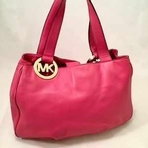 MICHAEL KORS Large FULTON Handbag Pink LEATHER Bag